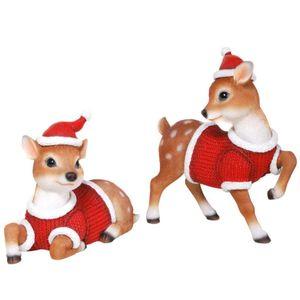 Weihnachten - 2er Set ca. 20cm Rehkitze in Weihnachts Kostüme