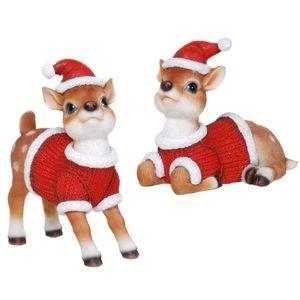 Weihnachten - 2er Set ca. 15cm Rehkitze in Weihnachts Kostüme – Bild 1