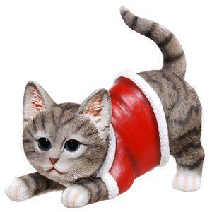 Weihnachten - Katze will spielen im Weihnachts Kostüm 18cm