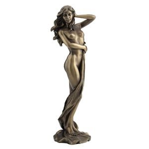 Weiblicher Akt Frau lässt ein Tuch herunter gleiten bronziert 24cm – Bild 1