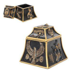 Ägyptische eckige Schmuckdose mit Symbolen