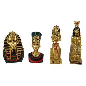 4er Set A ägyptische Figuren Tutanchamun, Nofretete, Chefren, Isis 5-6cm