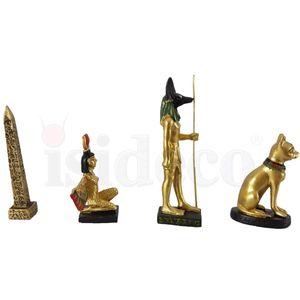 4er Set B ägyptische Figuren Obelisk, Isis, Anubis, Bastet 5-7cm – Bild 2