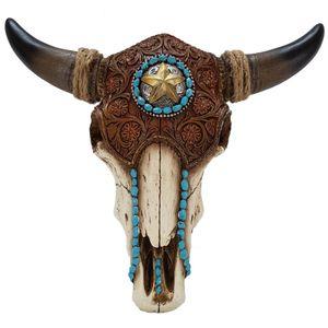 Western Bisonschädel mit Stern türkis verziert 33,5cm – Bild 1