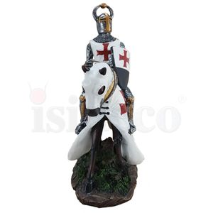 Templer Kreuzritter auf Pferd mit Schild 23cm – Bild 3