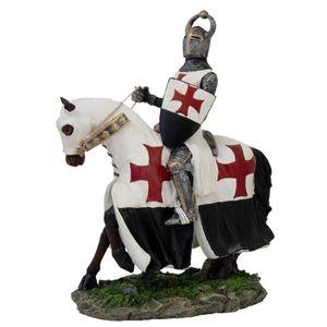 Templer Kreuzritter auf Pferd mit Schild 23cm – Bild 1