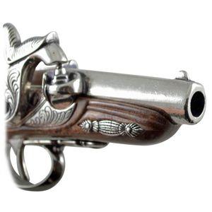 Nickelfarbene amerikanische Deko Perkussions Pistole Deringer Philadelphia 1862 – Bild 5