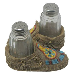 Salz & Pfefferstreuer in indianischen Mokassins 12cm – Bild 1