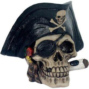 Totenkopf mit Piratenhut Kapitän mit Zigarre 13cm