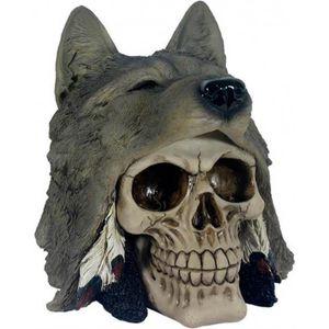 Totenkopf Indianer mit Wolfskopf 7cm
