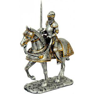 Ritter Mittelalter mit erhobenen Schwert auf Pferd 10cm