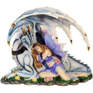 Elfe schläft an einem Drachen auf einer Wiese 26cm