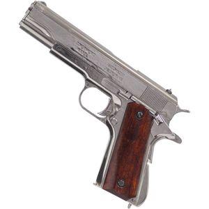 Zerlegbare Deko Pistole Colt M1911A1 Government 1923 vernickelt mit Holzgriffschalen