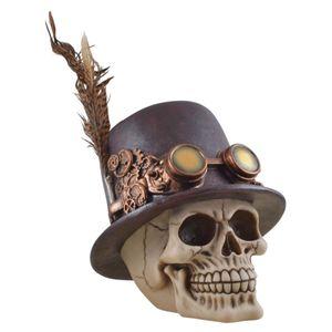 Steampunk Schädel mit Zylinder und Feder auf dem Hut 19cm