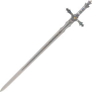 Deko Schwert König Arthur mit verzierten Griffteilen und Zierätzung silber 118,5cm