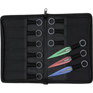 12er Set Wurfmesser blau-rot-grün in einem Nylon Etui 15cm – Bild 1