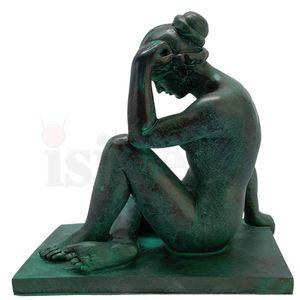Statue La Méditerranée das Mittelmeer nach Aristide Maillol bronze verwittert 14cm – Bild 5