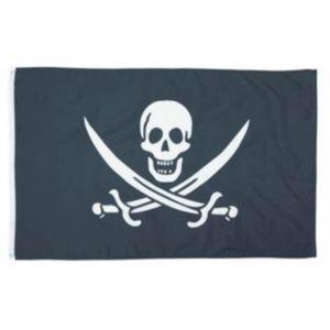 Fahne Flagge der Piraten weißer Totenkopf auf schwarz 60x90cm