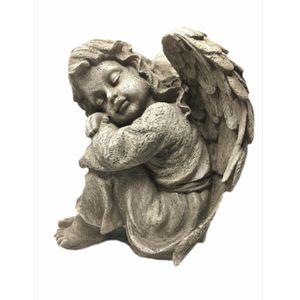 Gartenfigur Engel Mädchen Kopf links beige 34,5cm