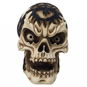 Totenkopf mit Nasenring keltisch bemalt 8cm – Bild 1