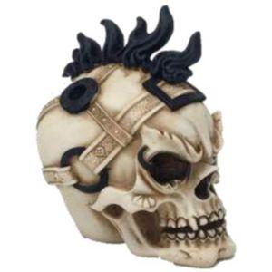 Totenkopf schwarze Haare mit Gürtel um Kopf 11cm