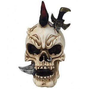 Totenkopf rote Haare mit Schwert im Kopf 11cm – Bild 1