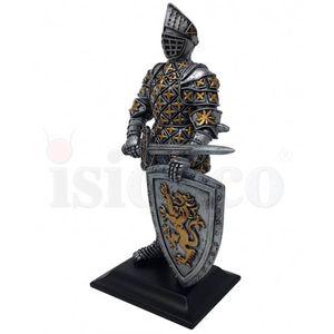 Ritter steht mit Schwert und Löwenschild 22,5cm – Bild 3