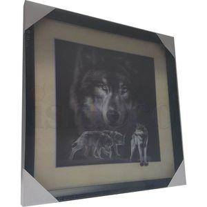 5D Wackelbild - Wölfe schwarz-weiß 40x40 Lenticular Optik – Bild 3