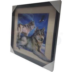 5D Wackelbild - Wölfe am Nachthimmel 40x40 Lenticular Optik – Bild 4