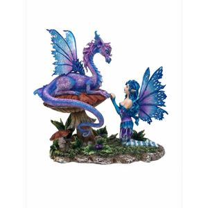 Companion Dragon Elfe kniet vor Drache by Amy Brown 23cm – Bild 1