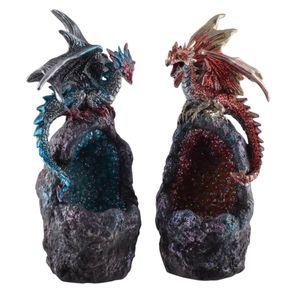 2er Set LED beleuchtete Drachen sitzen auf Kristallsteine mit Farbwechsel 17cm – Bild 1