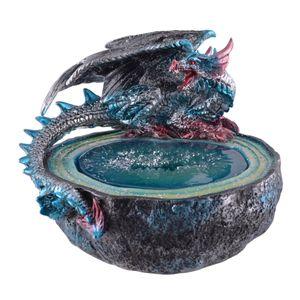Blauer Drache sitzt am LED beleuchteten Orakelbrunnen 13cm (Lief. o. Batt.) – Bild 1