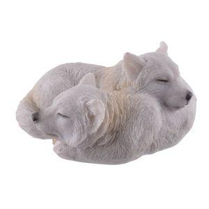 Zwei junge Polarwölfe schlafen eng umschlungen 10cm – Bild 1