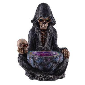 Grim Reaper Tod sitzt am Orakelbrunnen mit LED beleuchteten Augen und Brunnen 25cm – Bild 1
