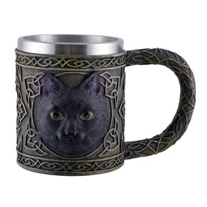 Keltischer Krug - Magie schwarze Katze mit Metalleinsatz 16cm