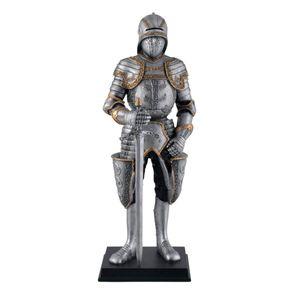 Deutscher mittelalterlicher Ritter mit Schallerhelm und Schwert auf Sockel 28cm