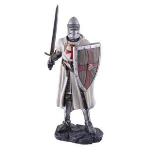Mittelalter Kreuzritter Templer mit Schwert und Schild mit Holzmaserung 18cm – Bild 1