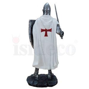 Mittelalter Kreuzritter Templer mit Schwert und Schild mit Holzmaserung 18cm – Bild 4