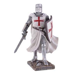Templer Mittelalter Malteser Kreuzritter mit Schwert und Schild 18cm