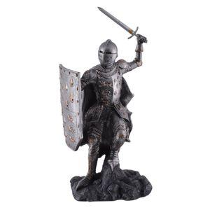 Mittelalter englischer Ritter mit Schwert und Schild im Angriff 27cm