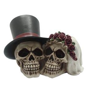 Hochzeitspaar Totenköpfe - glücklich vereint bis in den Tod 21cm