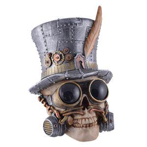 Steampunk Totenkopf mit Zylinder und Pilotenbrille 20cm