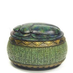 Ägyptische Scarabaeus Schmuckdose grün-gold 10,5cm zum öffnen – Bild 2