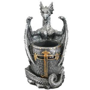 Kreuzritter Stiftehalter Drache hält mittelalterlichen Ritterhelm 17cm – Bild 1