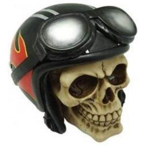 Totenkopf mit roten Flammen verzierten Motorradhelm 14cm