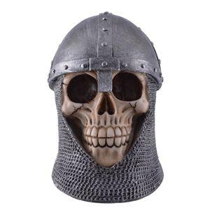 Mittelalterlicher Ritter Totenkopf mit Helm und Kettenhaube 16cm