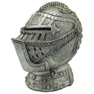 13,2cm Spardose silberfarbener mittelalterlicher Ritterhelm – Bild 1