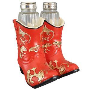 Western Boots Salz & Pfefferstreuer in roten Stiefeln 13cm – Bild 1
