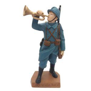 Figur Soldat französischer Trompeter bläst zum Angriff 1914 WWI