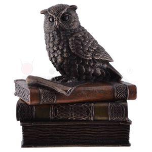 Schmuckdose Zwergohreule sitzt auf Büchern bronziert 12cm – Bild 2